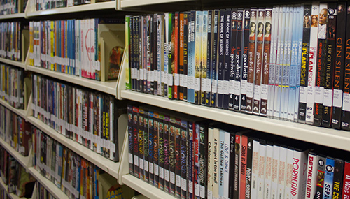 Shelves of dvds in the Media Collection