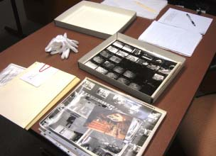 desk with photographs displayed